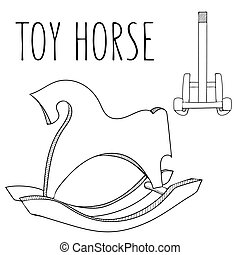 Cute black and white or coloring book horse toy. Rocking...