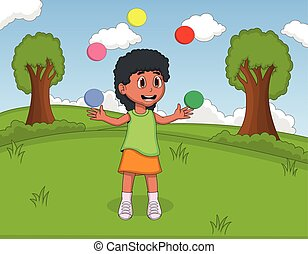A girl playing juggling at the park