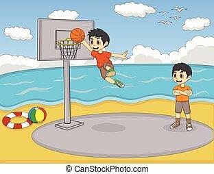 A boy playing basketball