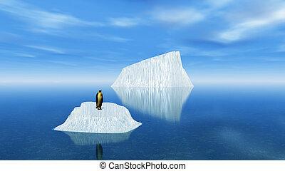 3D penguin on an iceberg in the ocean