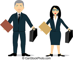 isolated lawyer couple  - vector illustration of