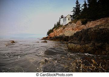 hermoso, Faro, bajo, puerto, imagen, parque,  Maine,  Acadia, nacional