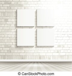 blank canvases on brick wall 1503