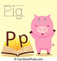 Illustrator of P for Pig vocabulary