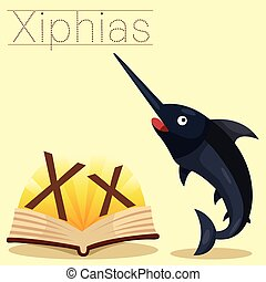 Illustrator of X for Xiphias vocabu