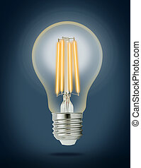 LED filament light bulb E27 With clipping path