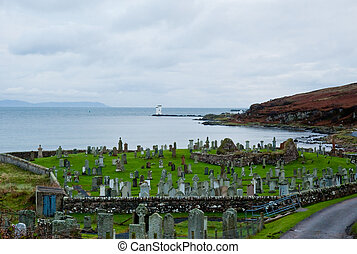 Islay cemetery and lighthouse - Cemetery and Port Ellen...