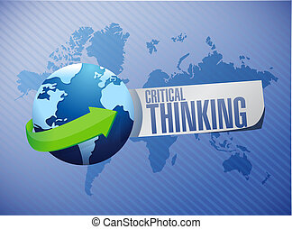 Critical Thinking global sign illustration design graphic