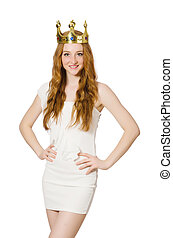 Young red hair princess wearing crown isolated on white