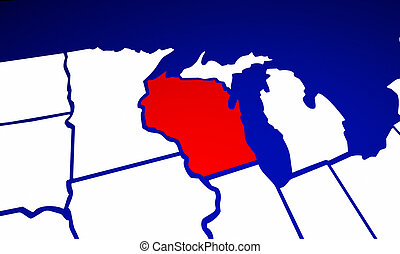 Wisconsin WI State United States of America 3d Animated...