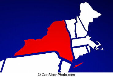 New York NY State United States of America 3d Animated State Map