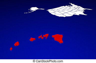 Hawaii HI State United States of America 3d Animated State Map