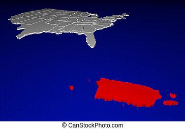 Puerto Rico PR Territory United States of America 3d...