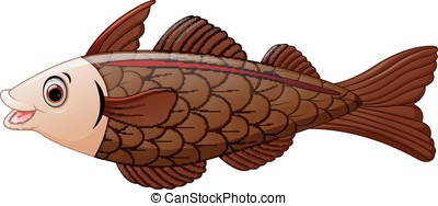 cod fish cartoon - vector illustration of cod fish cartoon
