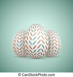 Realistic Vector Easter Egg. Painted Vector Egg Set with...