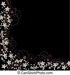 star vector - star border with sequins isolated on black...