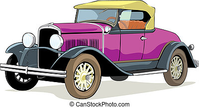 isolated old car - fully editable vector isolated old car...