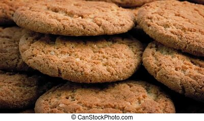 Ginger Biscuits Rotating Closeup - Macro shot of ginger...