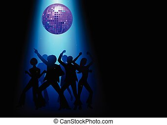 Disco Dancing - Silhouette Illustration of couples disco...