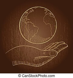 Hand holding a globe - Illustration of a hand holding a...