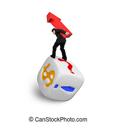 Businessman carrying red arrow up balancing on dice