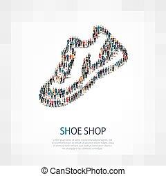 shoe shop people vector - shoe icon vector , shoe vector...