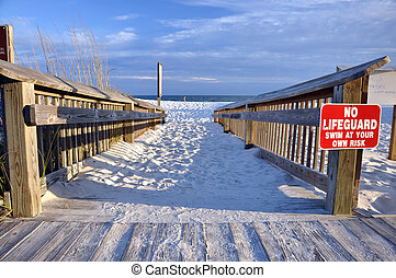 Wooden Beach Access - Wooden beach access with lifeguard...