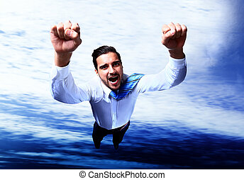 Happy businessman flying in the sky
