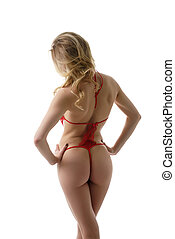 Model in red lace bodysuit posing back to camera - Slim...