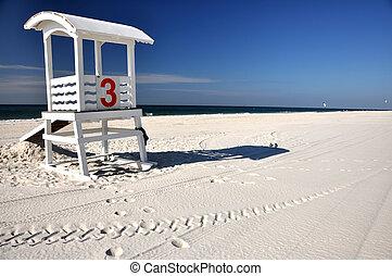 Lifeguard Hut on Beach - Empty lifeguard hut and seagulls on...