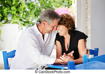 Beautiful mature couple in love - Bright lifestyle portrait...