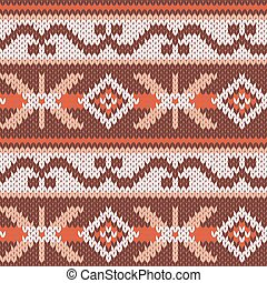 Knitted Seamless Pattern in warm colors - Abstract...