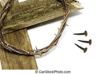 crown of thorns, cross and nails - the crown of thorns, the...