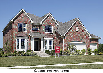 """Brick home with \""""For Sale\"""" sign - Brick home in suburbs..."""