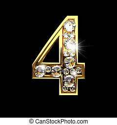 4 isolated golden letters with diamonds on black