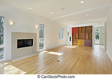 Living room with multi-colored cabinet - Living room in new...