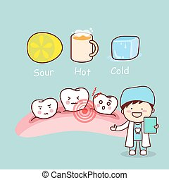 cute cartoon sensitive tooth