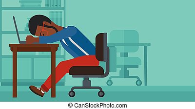 Man sleeping on workplace - An african-american employee...