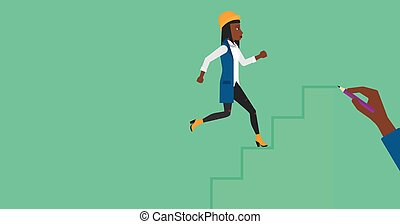 Woman running upstairs. - An african-american woman running...