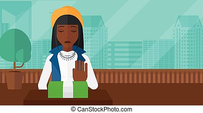 Woman refusing bribe. - An african-american woman moving...