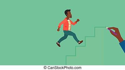 Man running upstairs - An african-american man running up...