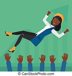 Successful business woman during celebration - An...