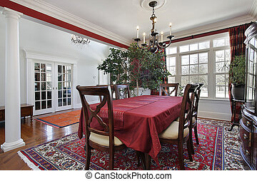 Dining room with white columns