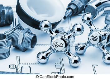 plumbing and tools lying