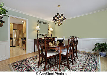 Dining room with kitchen view - Dining room in suburban home...
