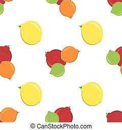 Seamless Pattern of Fruit, Fruit Background, Citrus Pattern, Orange , Yellow Lemon, Mandarin, Green Lime .