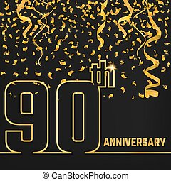 Anniversary Outline gold A - Vector Illustration of...