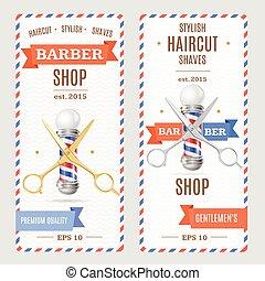 loja, cartão, vetorial, barbeiro, Voadores, bandeiras
