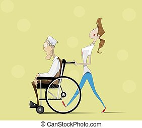 Social worker and elder man in wheelchair.