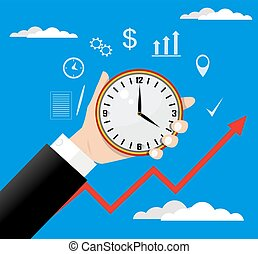 Time management vector modern illustration in flat style -...